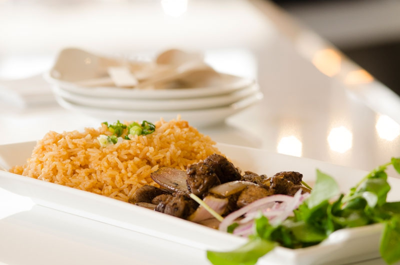 Chopped Filet Mignon & Onions with Tomato Jazzmen Rice at Magasin Restaurant