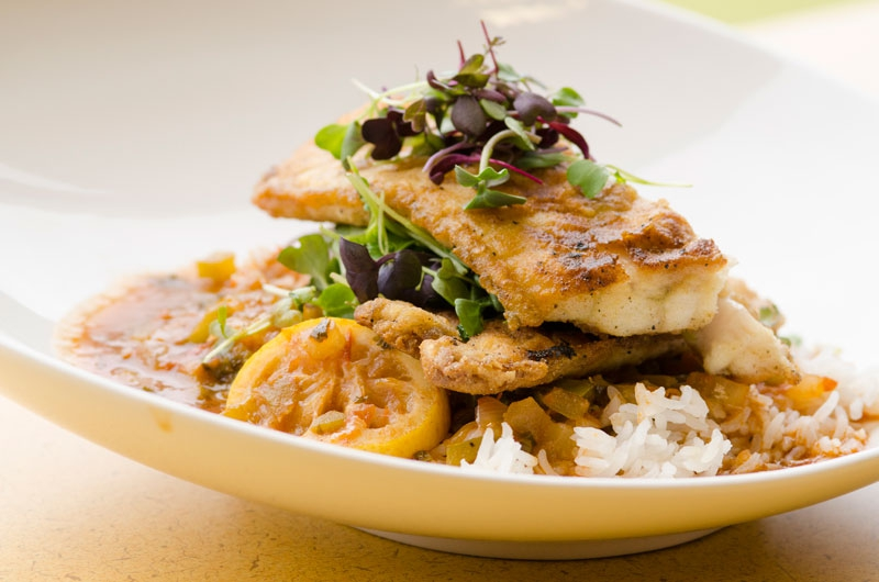 LA Gulf fish with Jazzmen Brown Rice by Executive Chef Travis Johnson - Tulane Sodexo