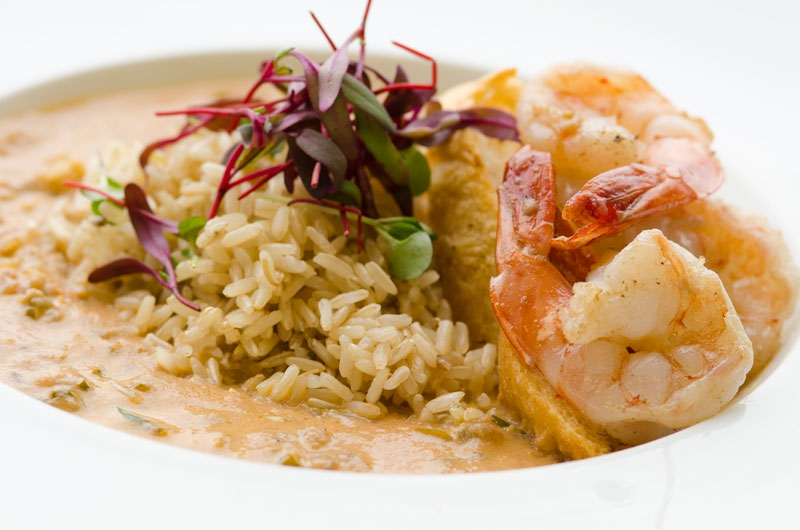 Sautéed LA Gulf Shrimp with Creole Tomato Mushroom Bisque and Brown Jazzmen Rice by Executive Chef Travis Johnson - Tulane Sodexo