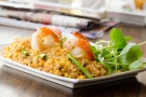 Jumbo Gulf Shrimp with Asparagus and mixed vegetable fried Jazzmen Rice - Magasin Restaurant